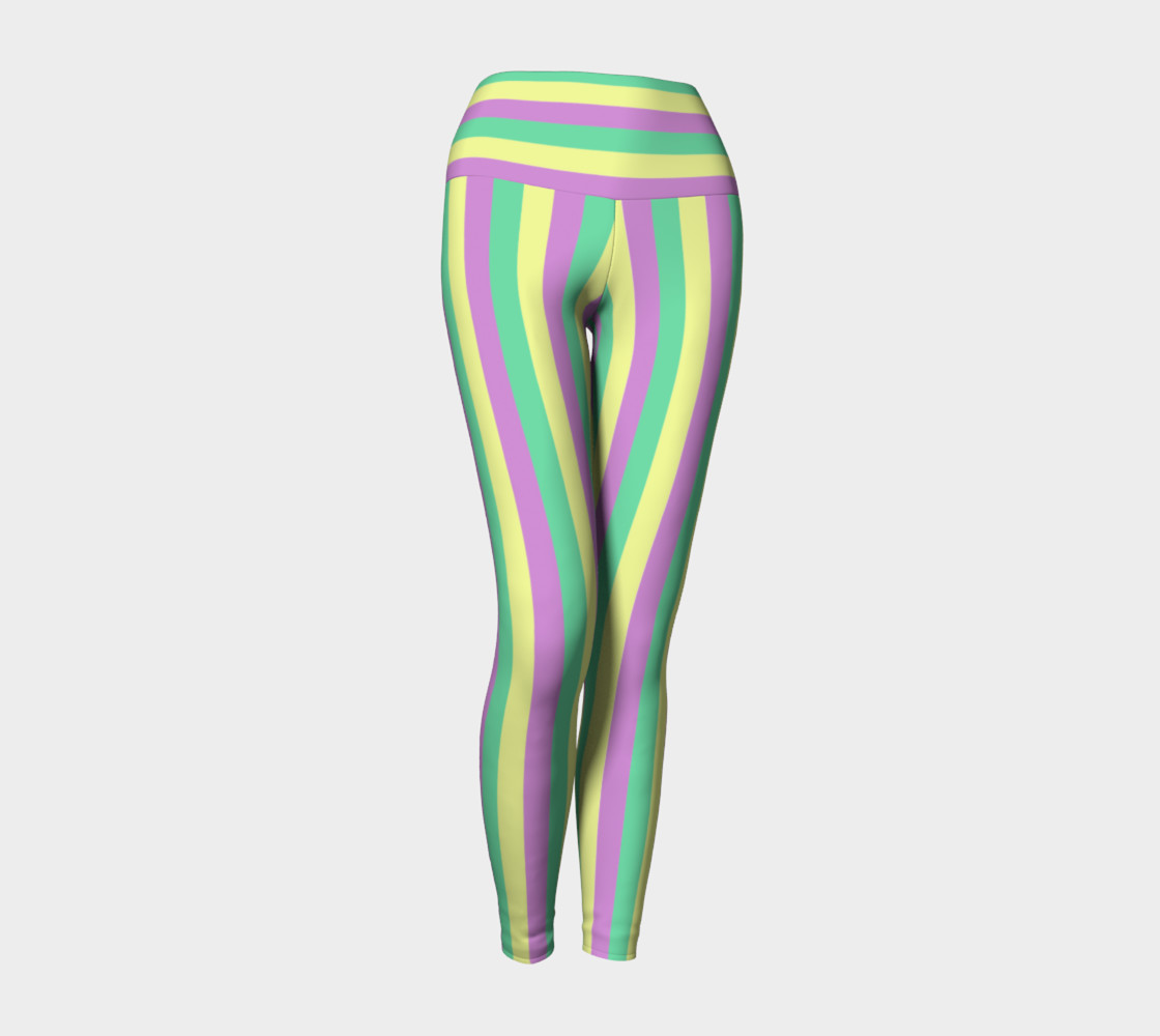 Mardi Gras Yoga Leggings- Stripes (Adult) preview #1