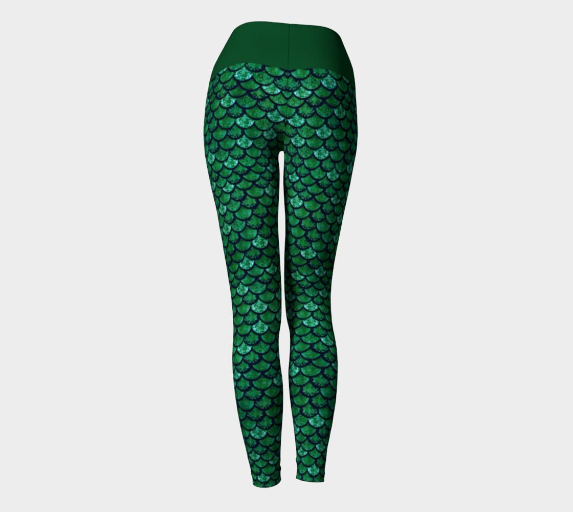 Green Glitter Scale Mermaid Yoga Pants preview #4