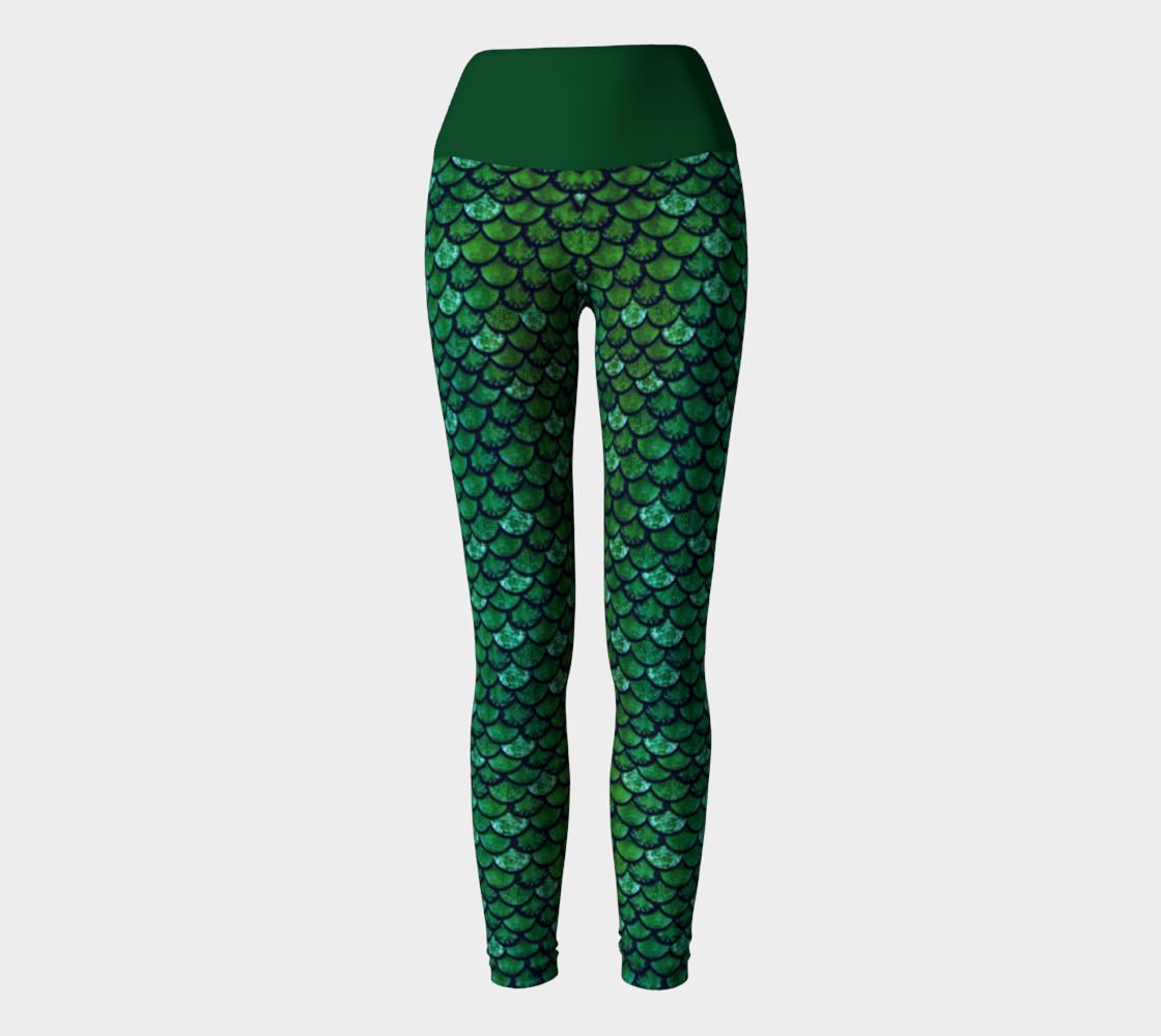 Green Glitter Scale Mermaid Yoga Pants preview #2
