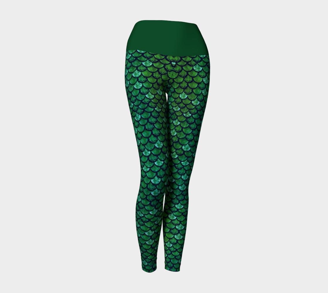 Green Glitter Scale Mermaid Yoga Pants preview #1