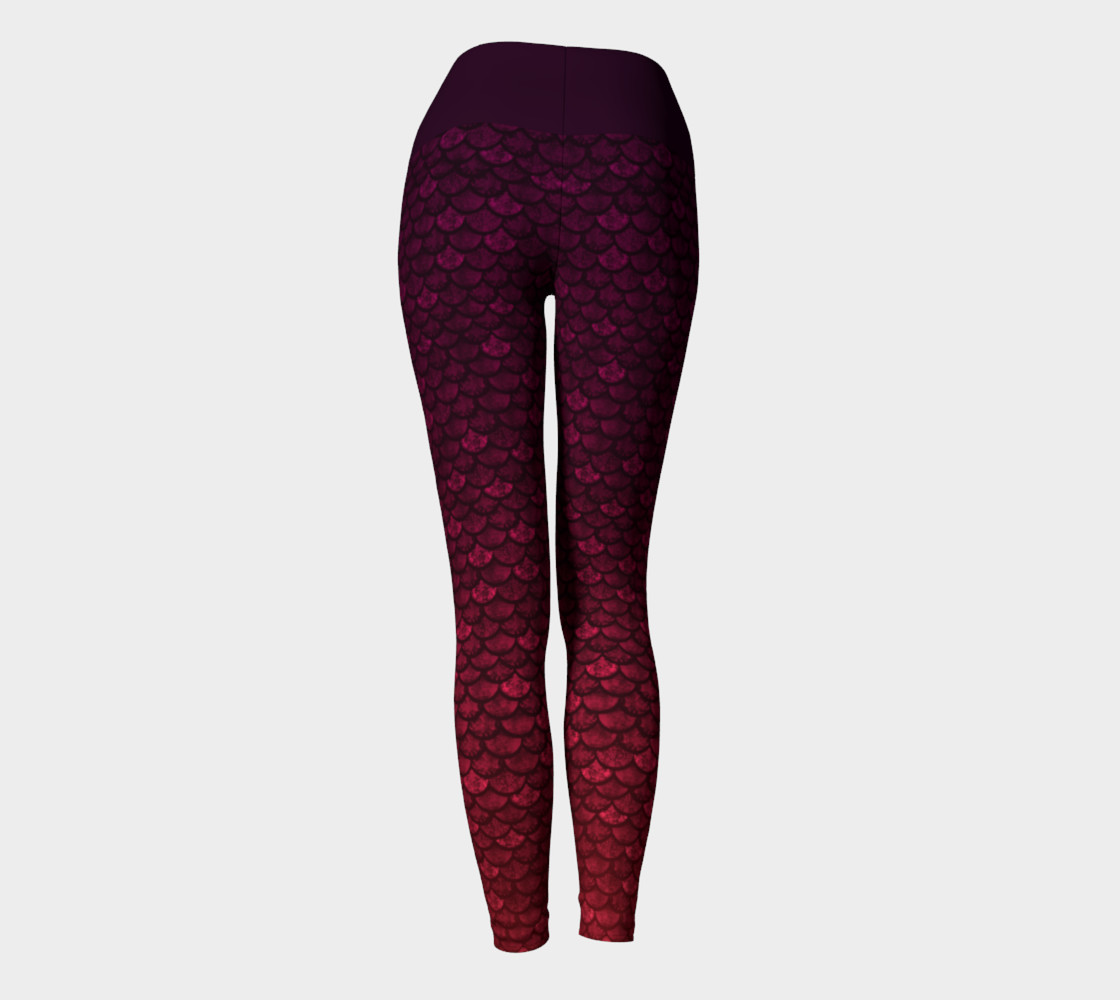 Glitterfish Glam Red/Purple Ombre Mermaid Scale Yoga Pants preview #4