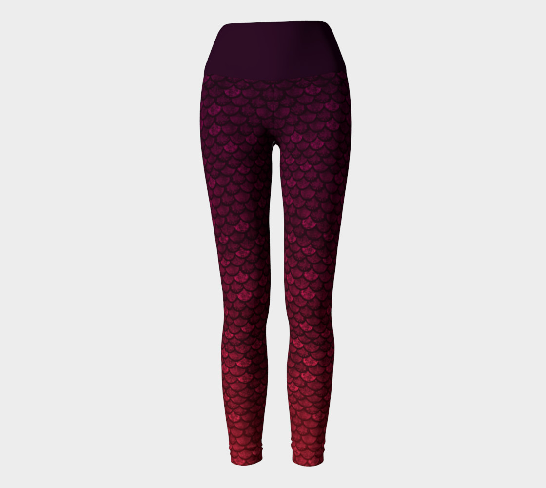 Glitterfish Glam Red/Purple Ombre Mermaid Scale Yoga Pants preview #2