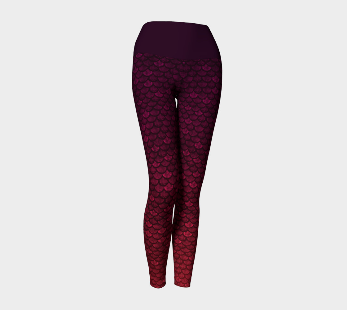 Glitterfish Glam Red/Purple Ombre Mermaid Scale Yoga Pants preview #1