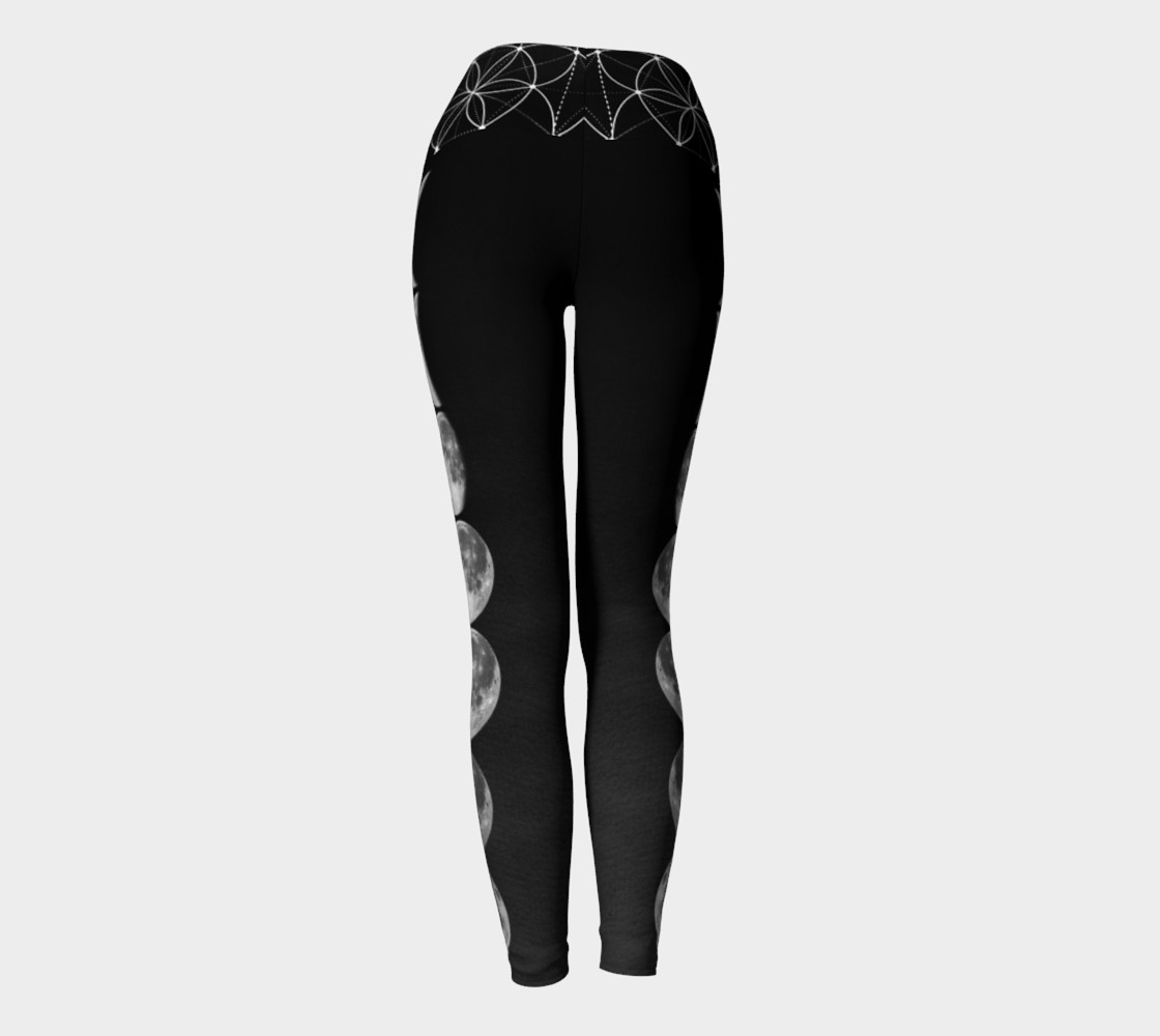 Black ombre moon phase yoga leggings preview #4