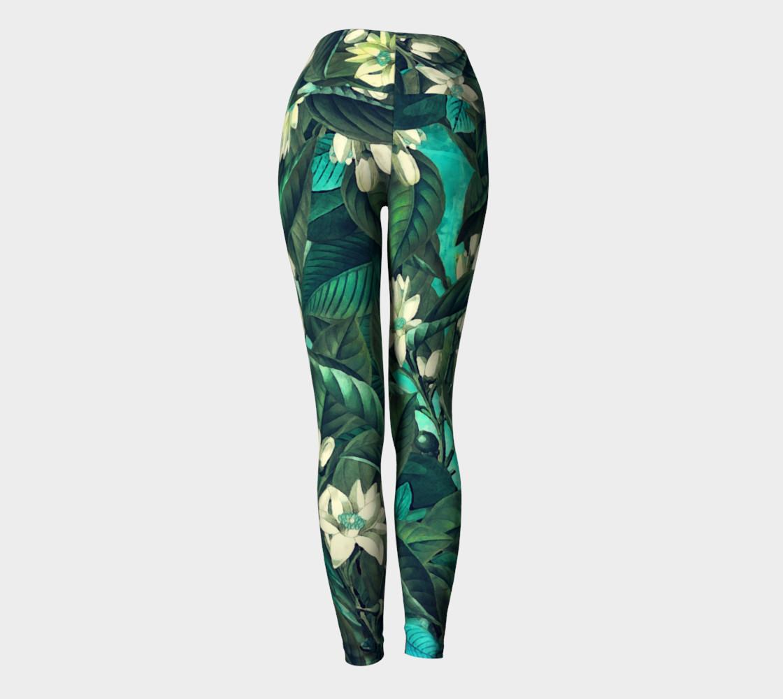 yoga leggings green flowers preview #4