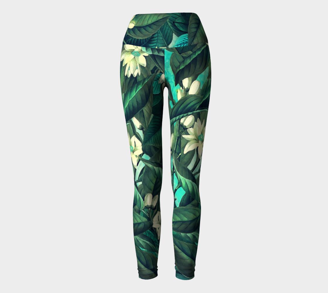 yoga leggings green flowers preview #2