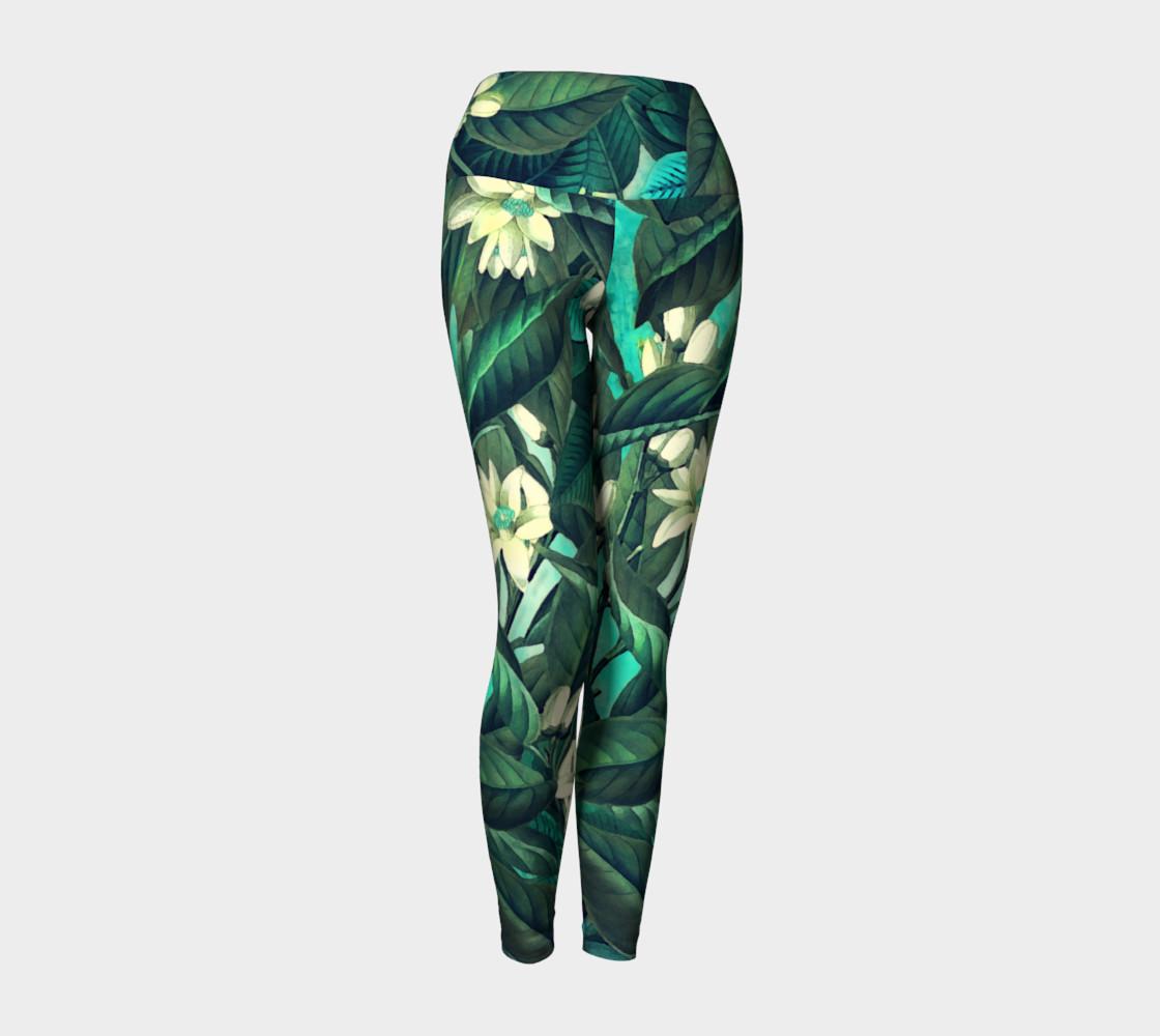 yoga leggings green flowers preview #1