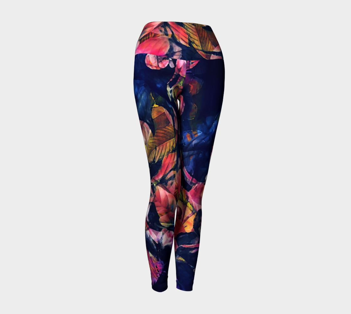 yoga leggings dar rose flowers preview #1