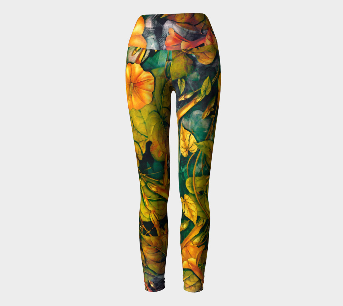 Aperçu de yoga leggings orange flowers #2