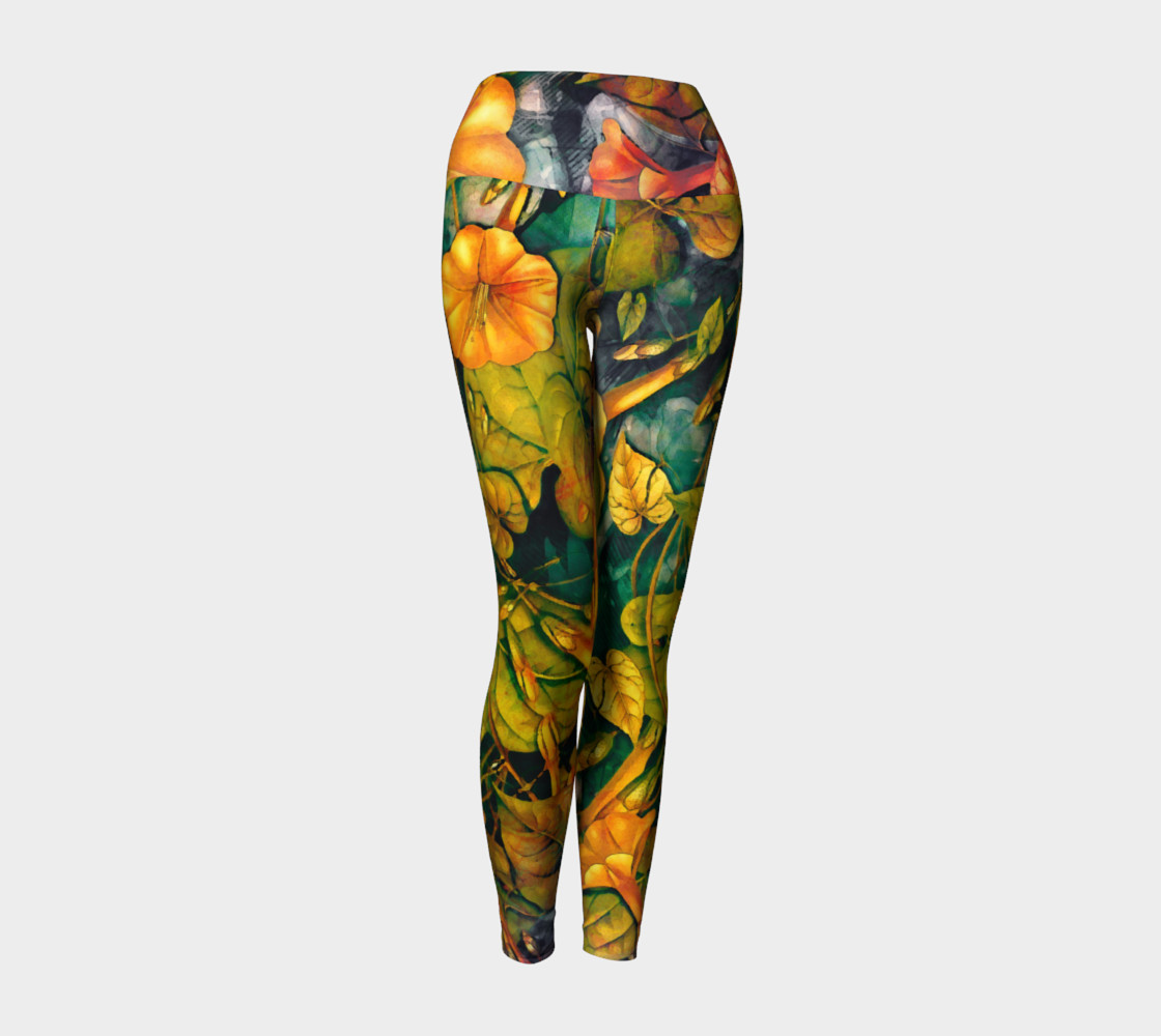 Aperçu de yoga leggings orange flowers #1