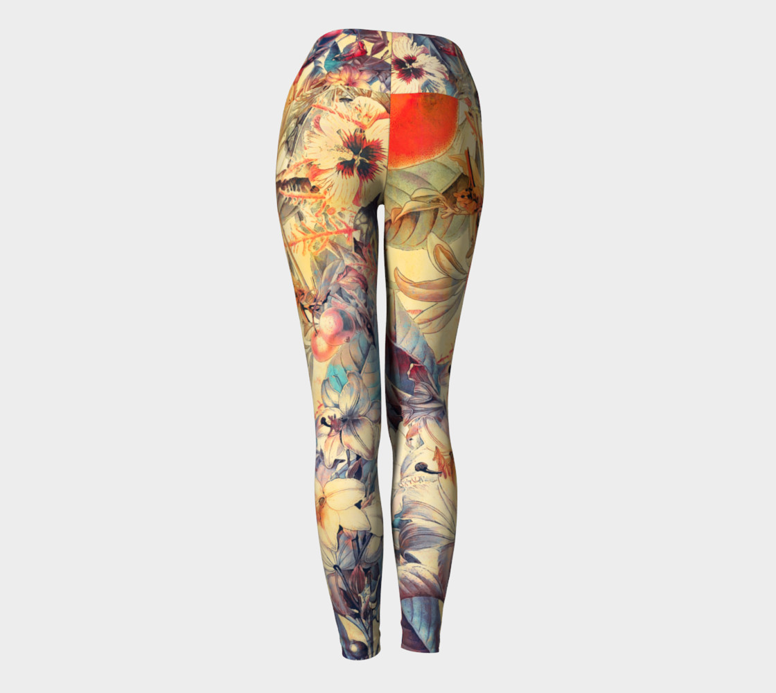 yoga leggings orange fruits flowers preview #4