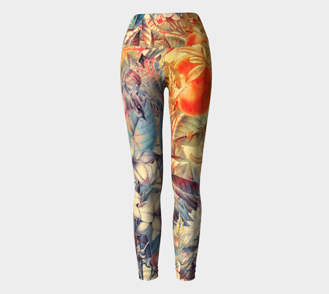 yoga leggings orange fruits flowers preview #2