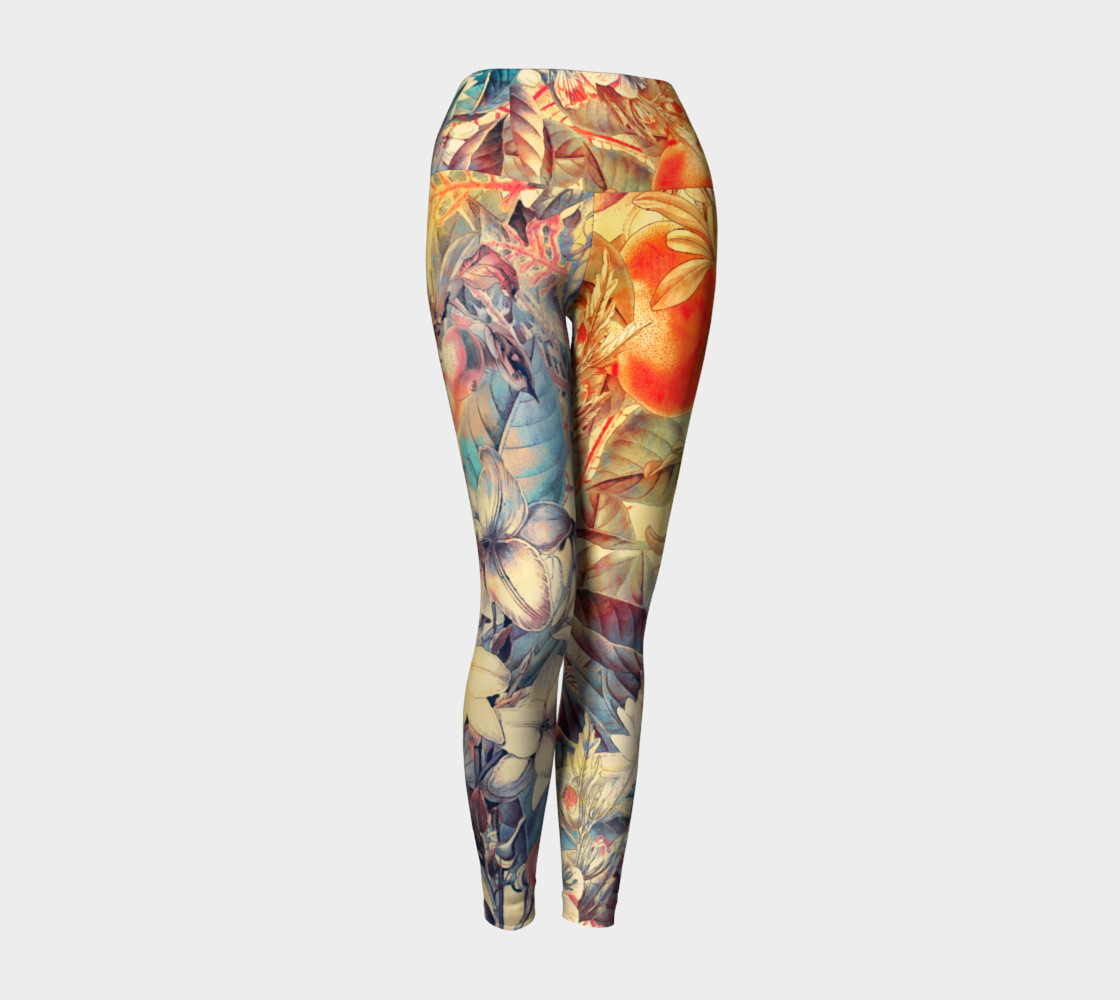 yoga leggings orange fruits flowers preview #1
