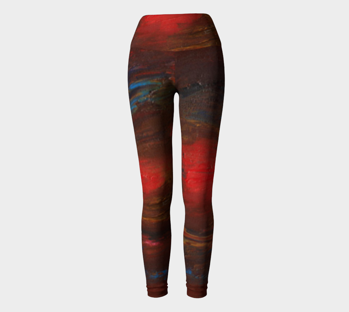 Crimson Ocean Yoga Leggings preview #2