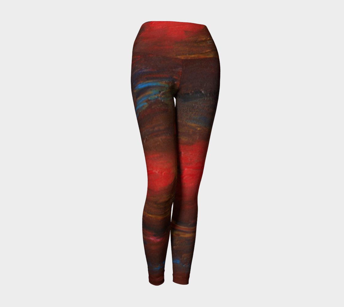 Crimson Ocean Yoga Leggings preview #1