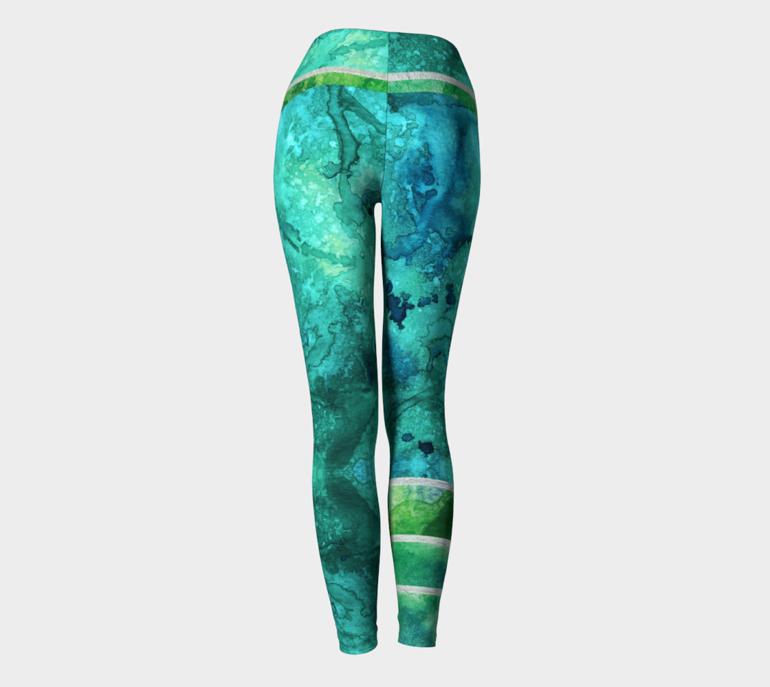 Green Blue Watercolor Ocean Yoga Leggings preview #4