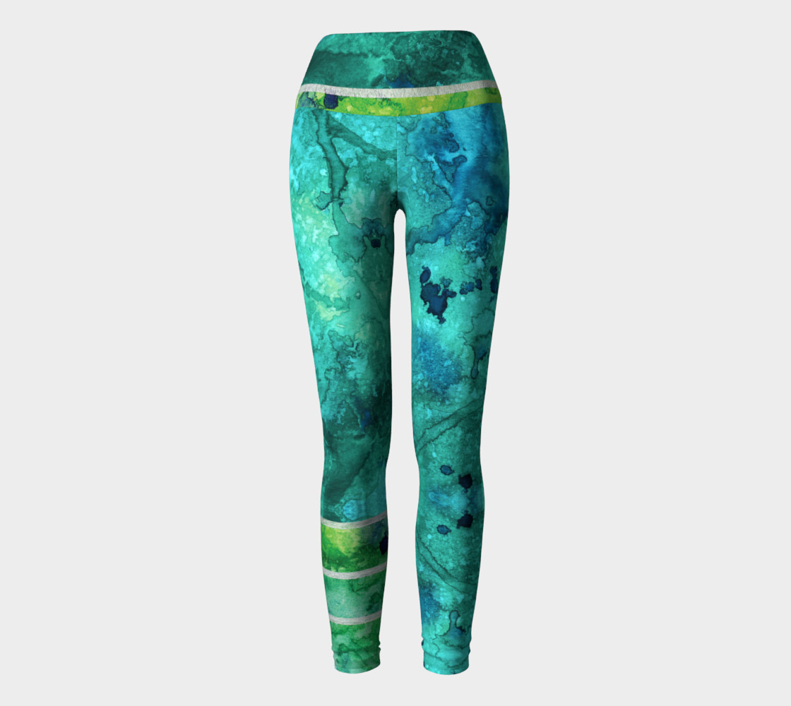 Green Blue Watercolor Ocean Yoga Leggings preview #2