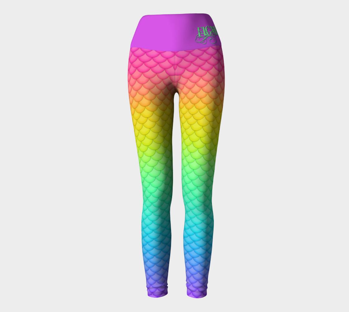 Neon Mermaid Yoga Leggings preview #2
