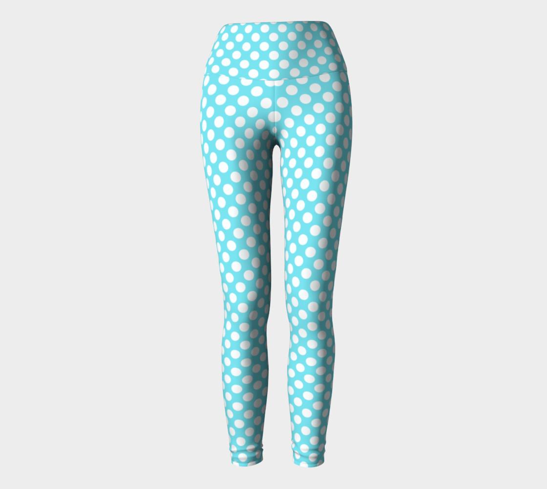 Polka Dots Pattern-Blue Yoga Leggings preview #2