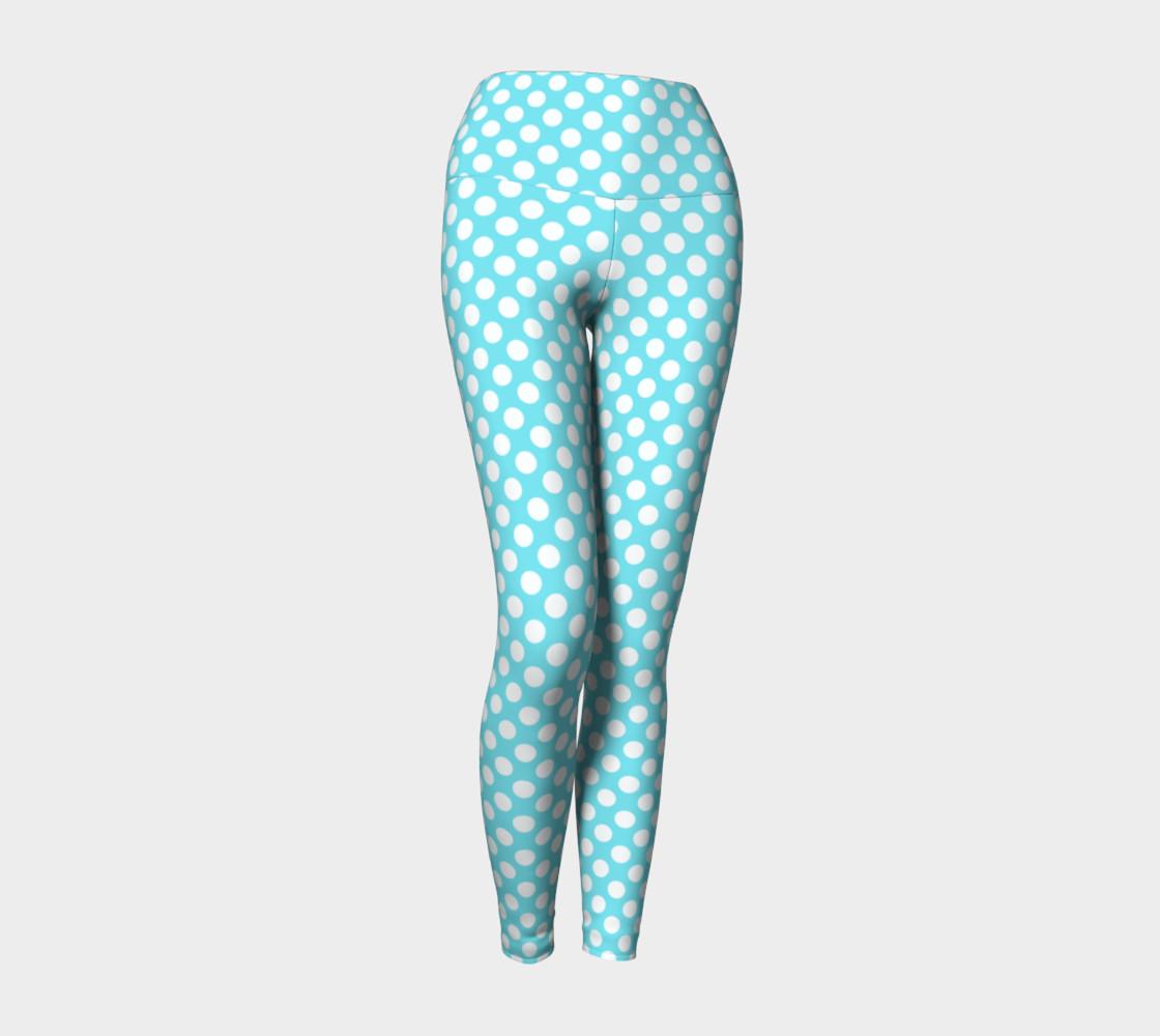 Polka Dots Pattern-Blue Yoga Leggings preview #1