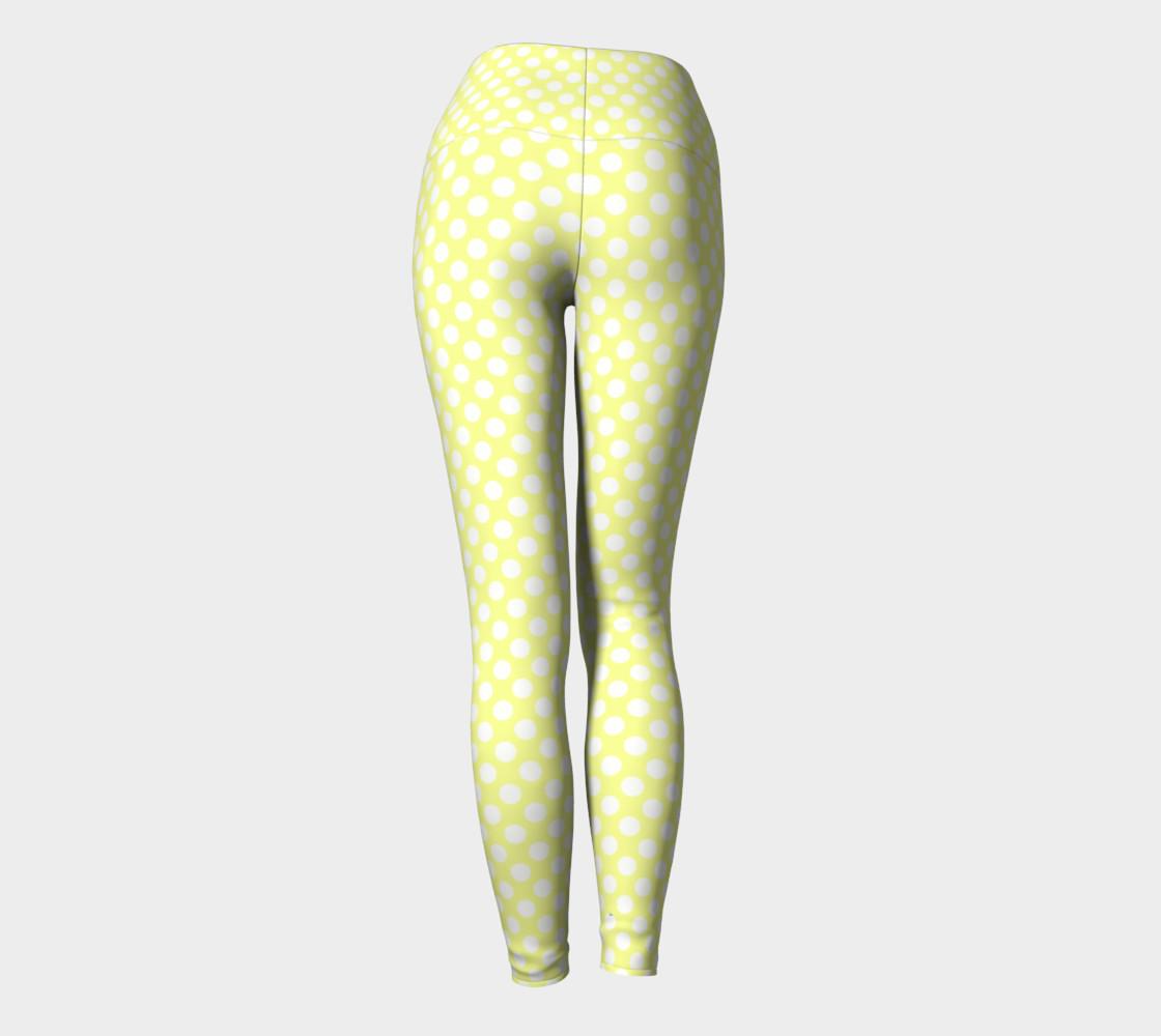 Polka Dots Pattern-Yellow Yoga Leggings preview #4