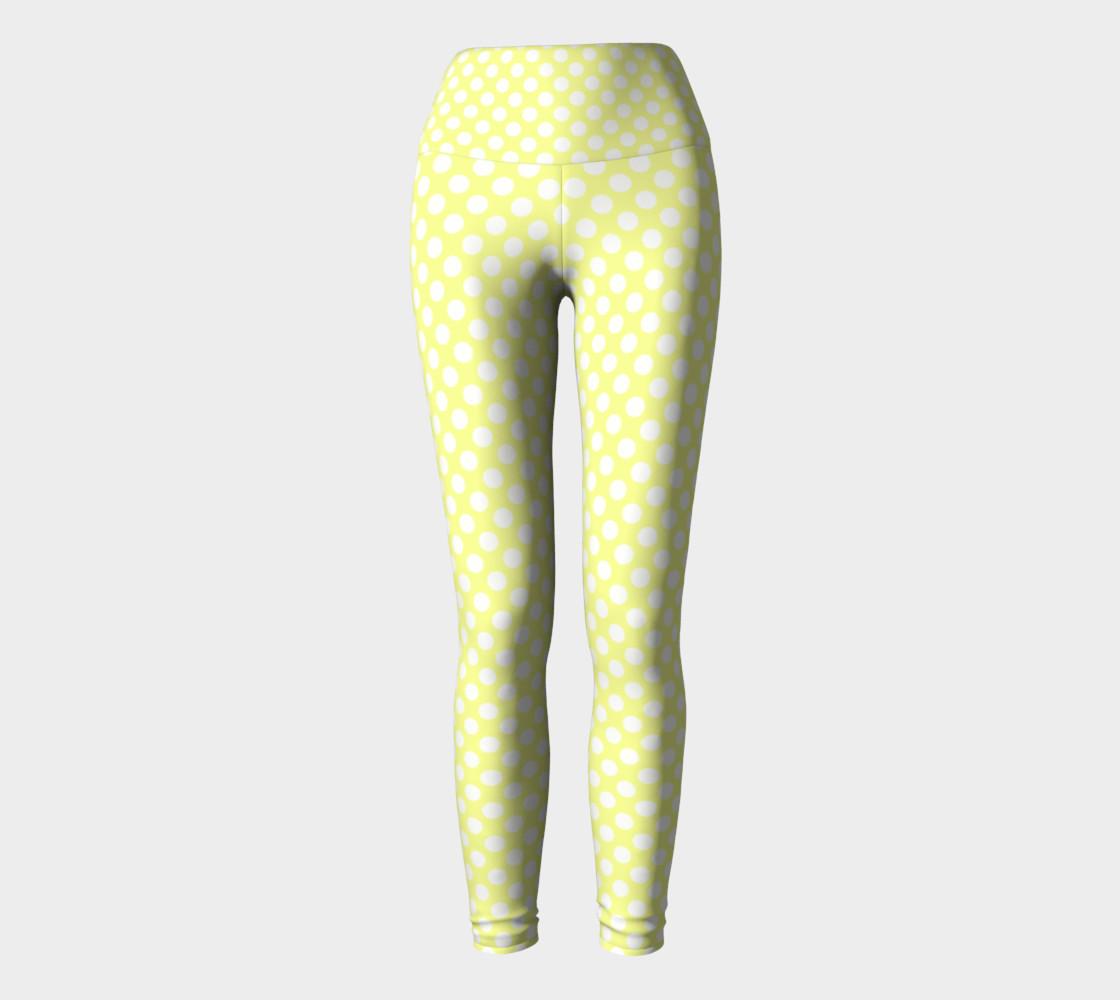 Polka Dots Pattern-Yellow Yoga Leggings preview #2