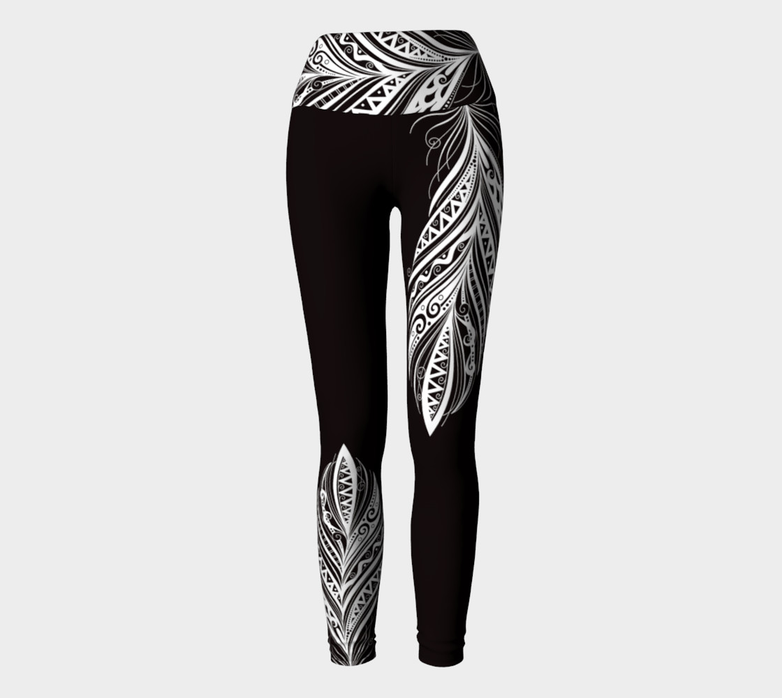 Black and White Bohemiam Free Spirit Yoga Pants preview #2