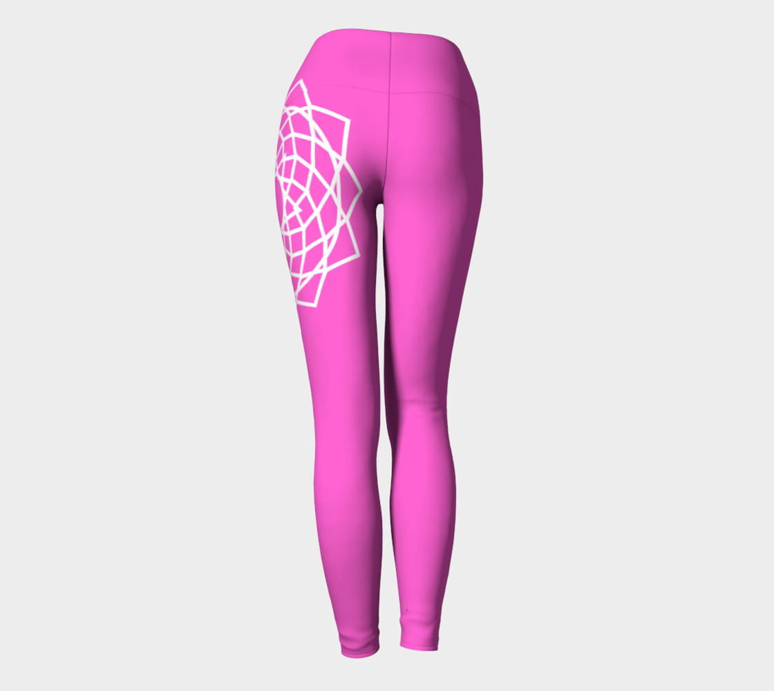 Chakra Yoga Leggings Pink and White preview #4