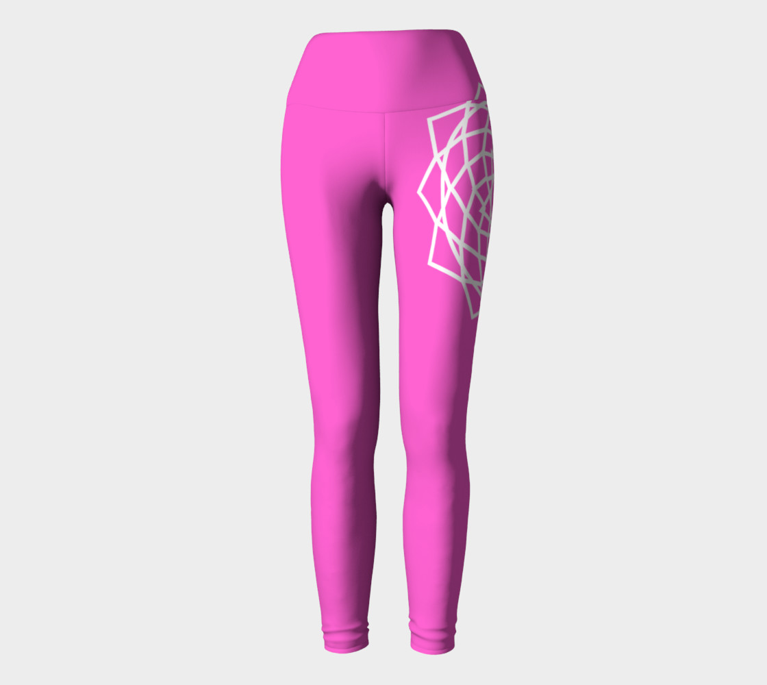 Chakra Yoga Leggings Pink and White preview #2