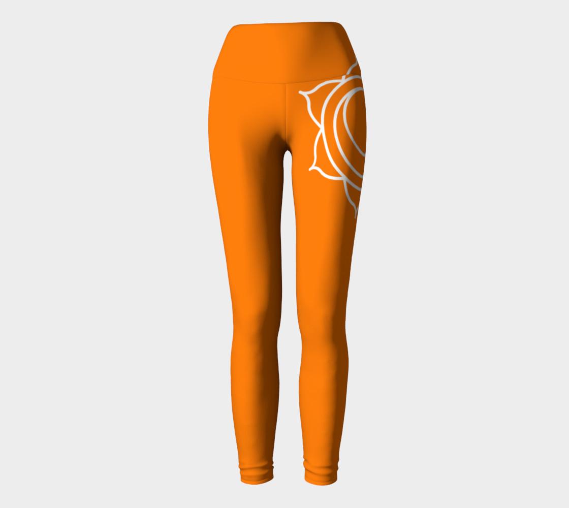 swadhithana orange and white chakra yoga pants leggings preview #2