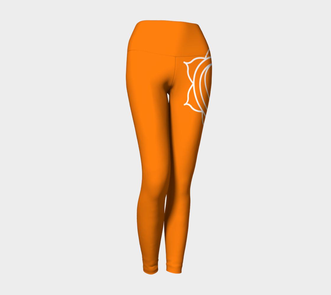 swadhithana orange and white chakra yoga pants leggings preview #1