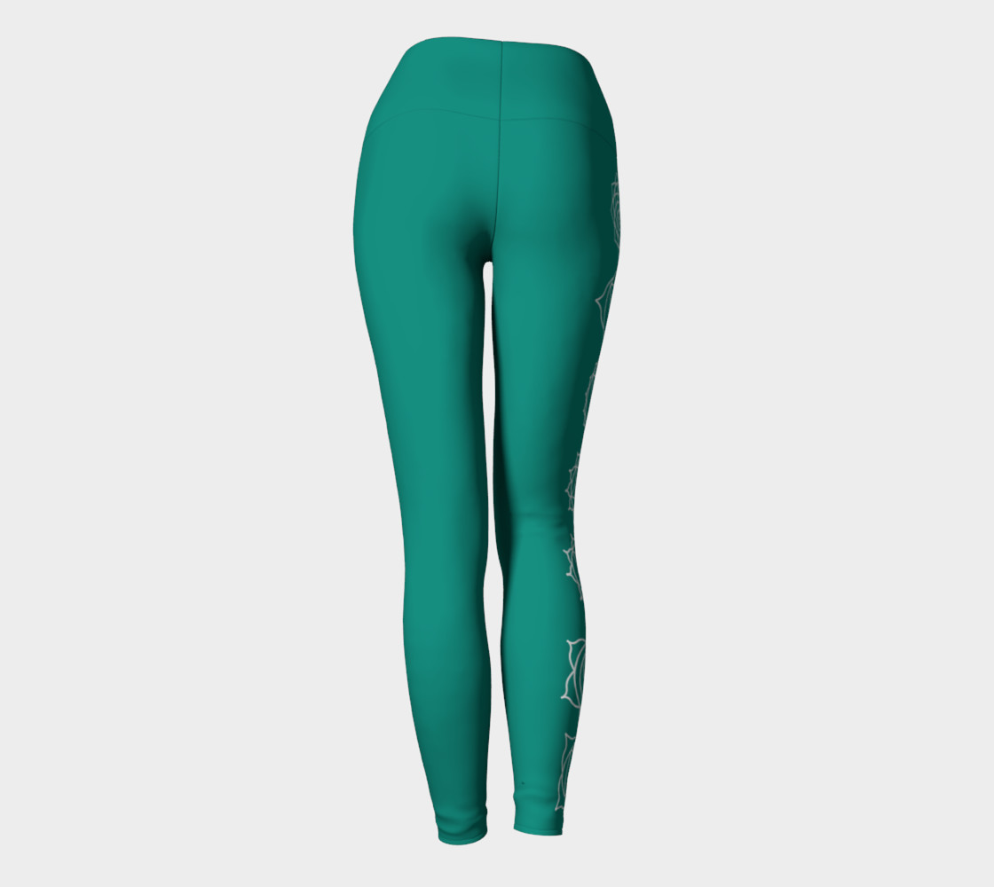 chakra turquoise and white yoga pants and leggings preview #4