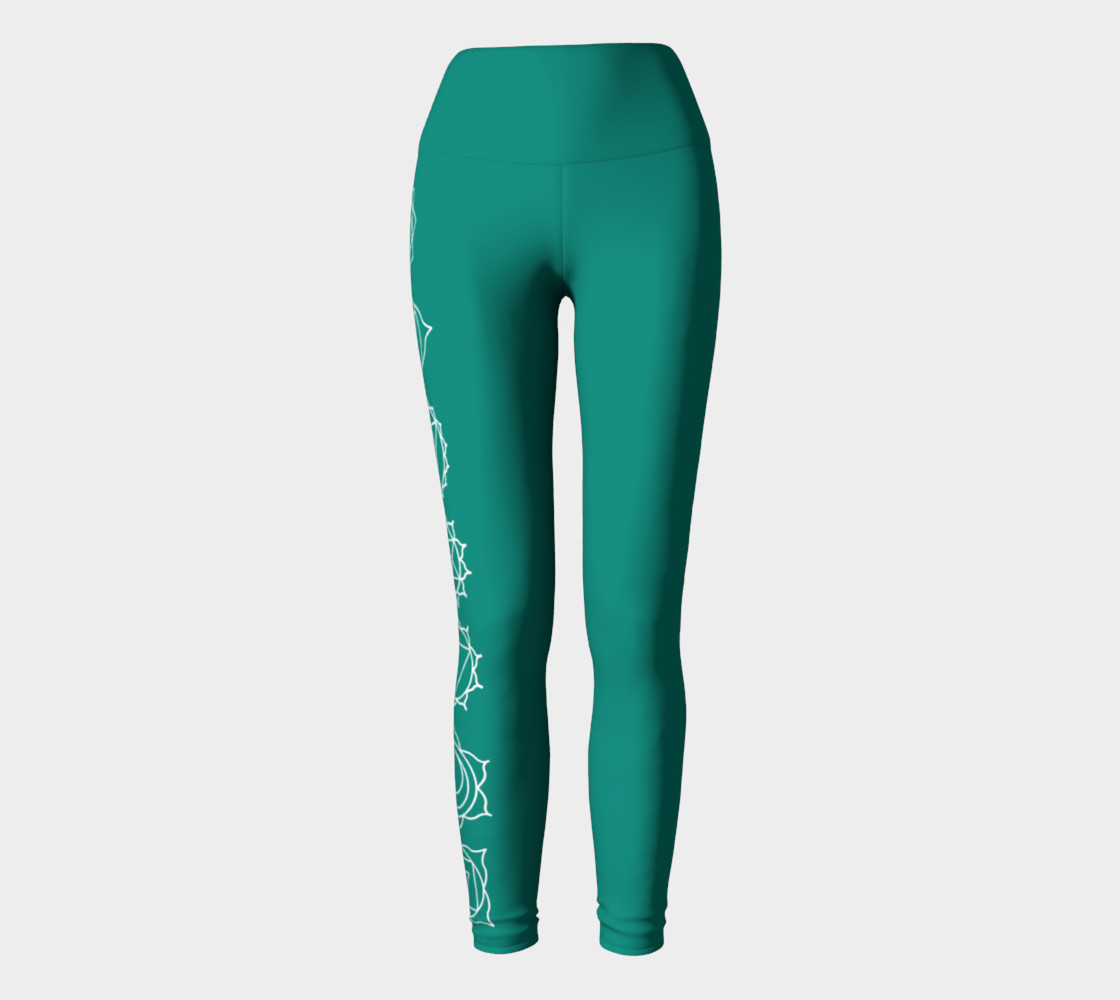 chakra turquoise and white yoga pants and leggings preview #2