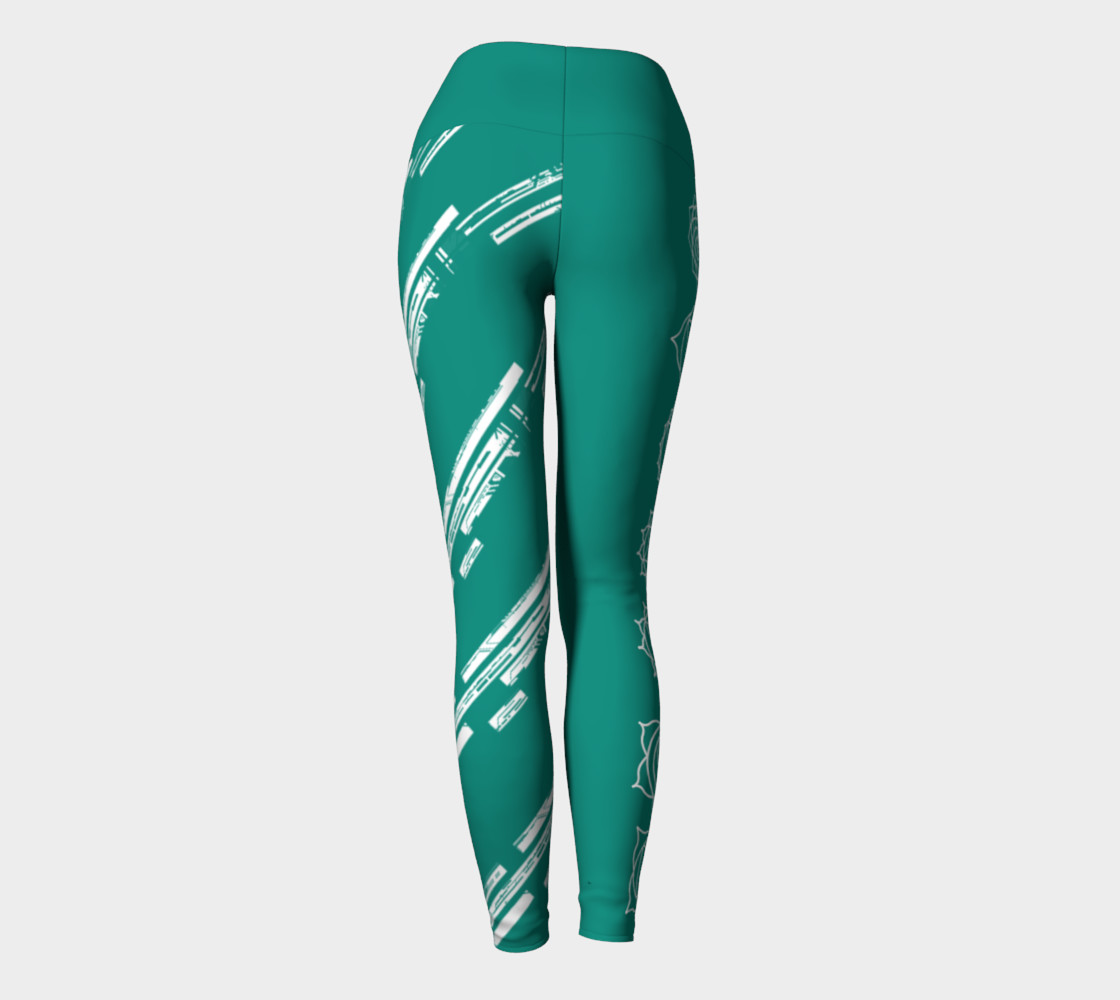 Chakra Line turquoise and white yoga pants leggings preview #4