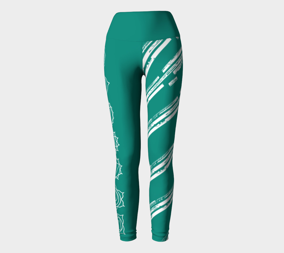 Chakra Line turquoise and white yoga pants leggings preview #2