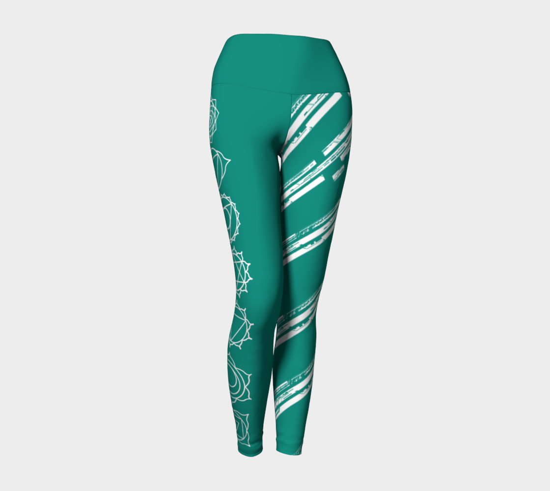 Chakra Line turquoise and white yoga pants leggings preview #1