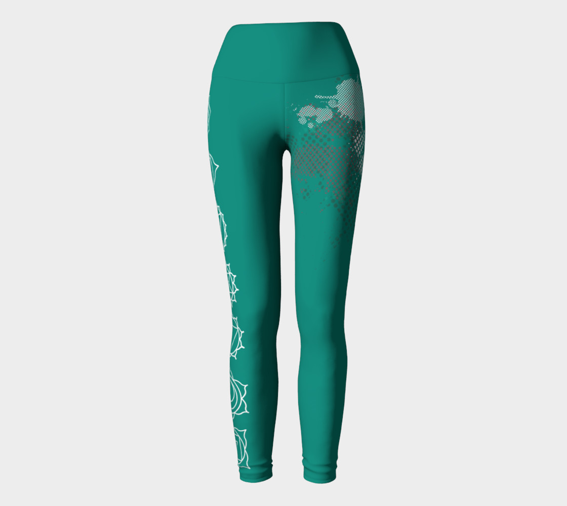 chakra paint splatter white and turquoise yoga pants leggings preview #2