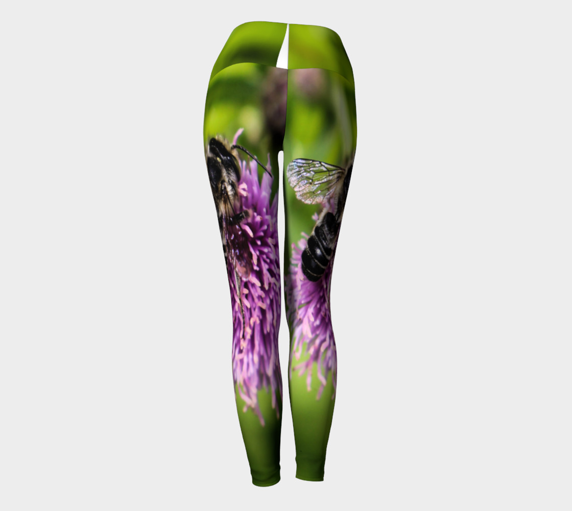 A Bee on a Purple Flower Yoga Leggings preview #4