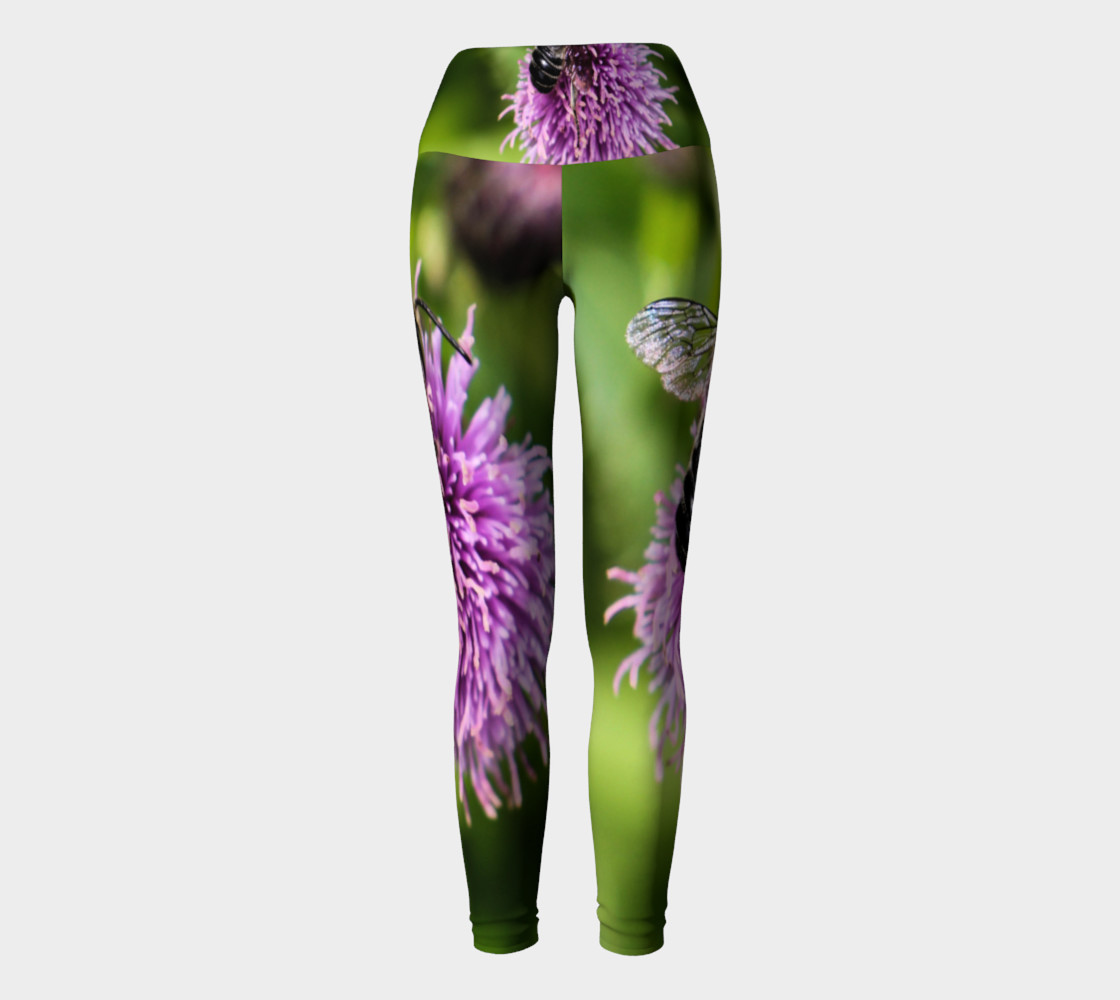 A Bee on a Purple Flower Yoga Leggings preview #2