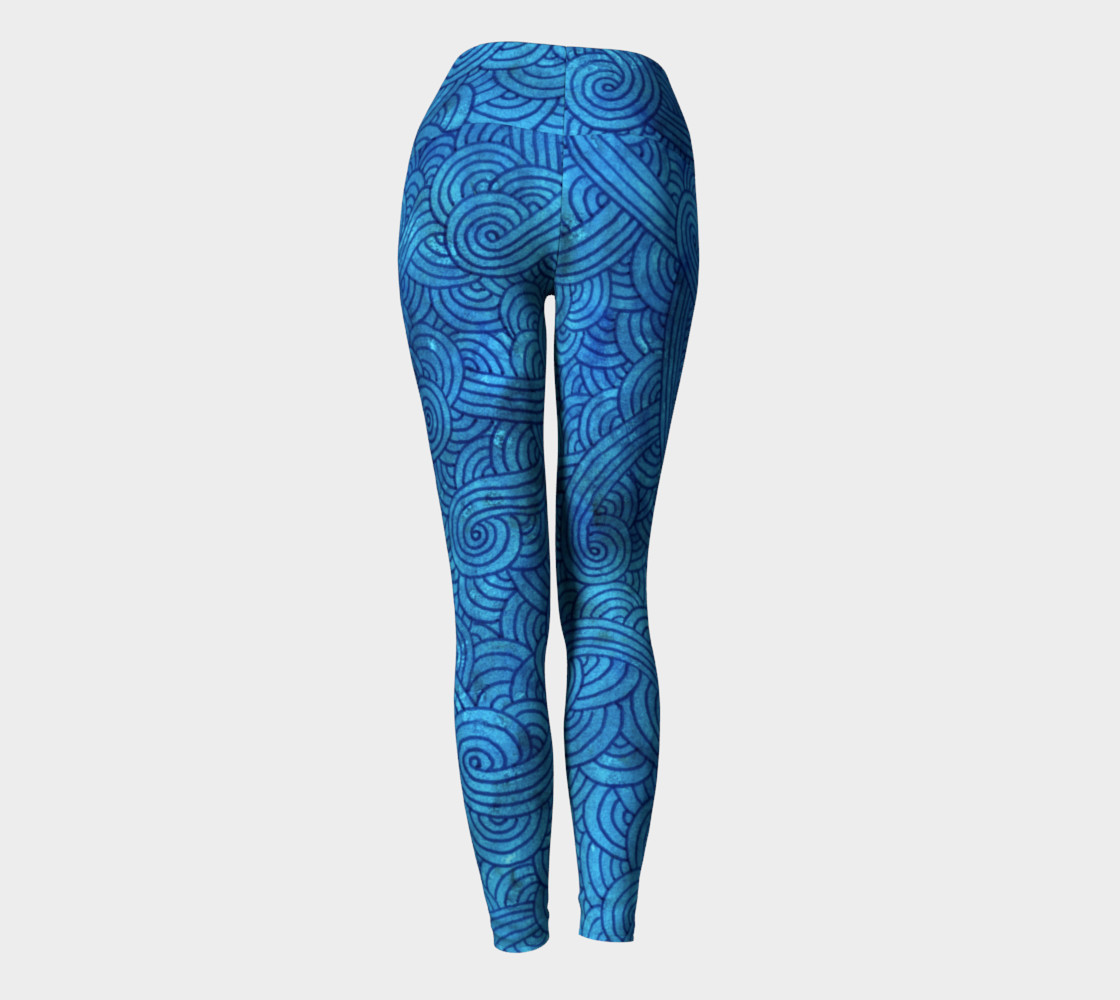 Turquoise blue swirls doodles Yoga Leggings preview #4