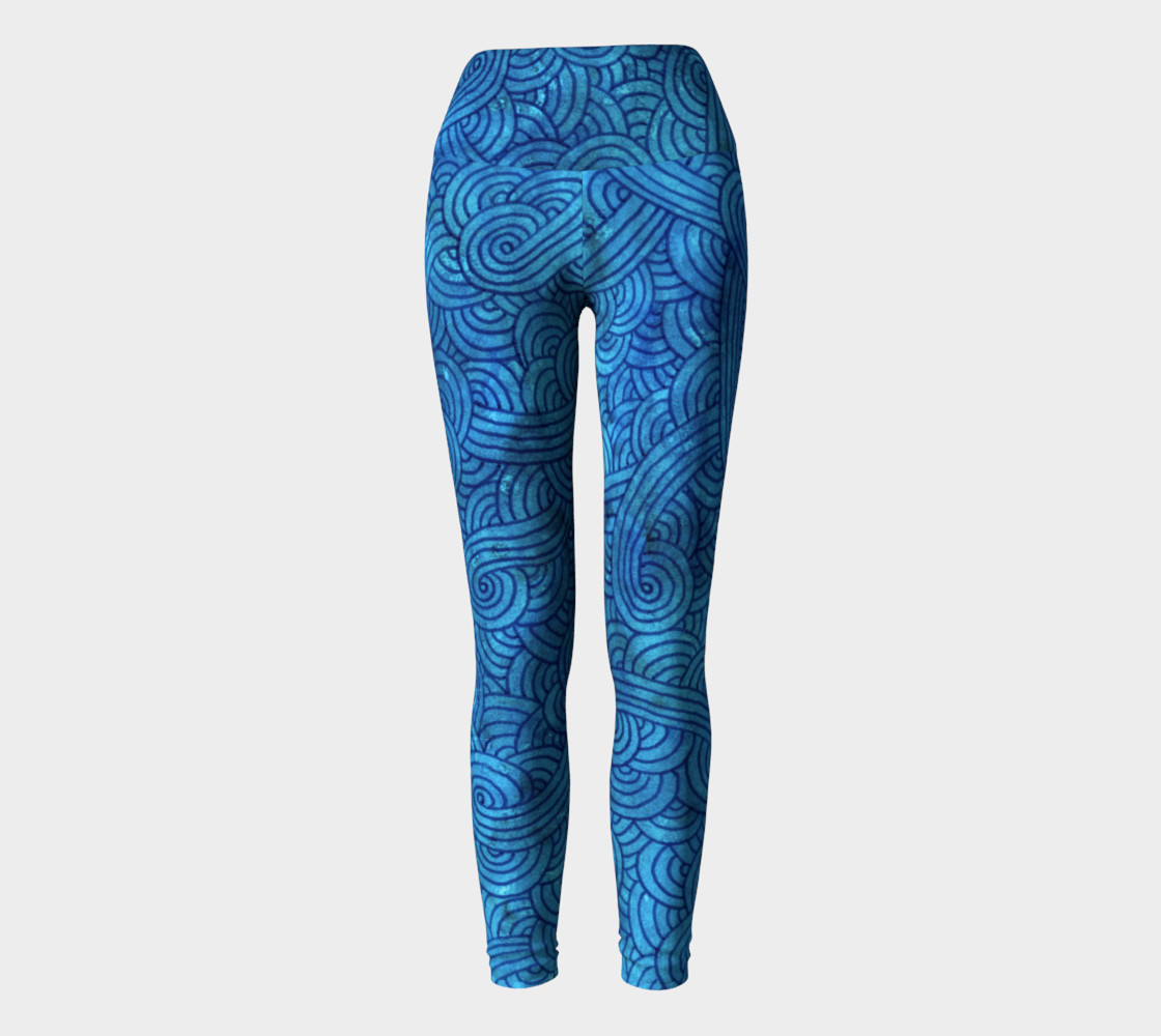 Turquoise blue swirls doodles Yoga Leggings preview #2