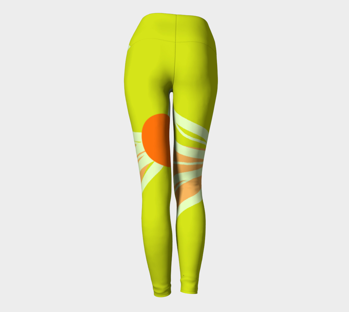 Abstract Yoga Leggings Lime Green and Peach preview #4