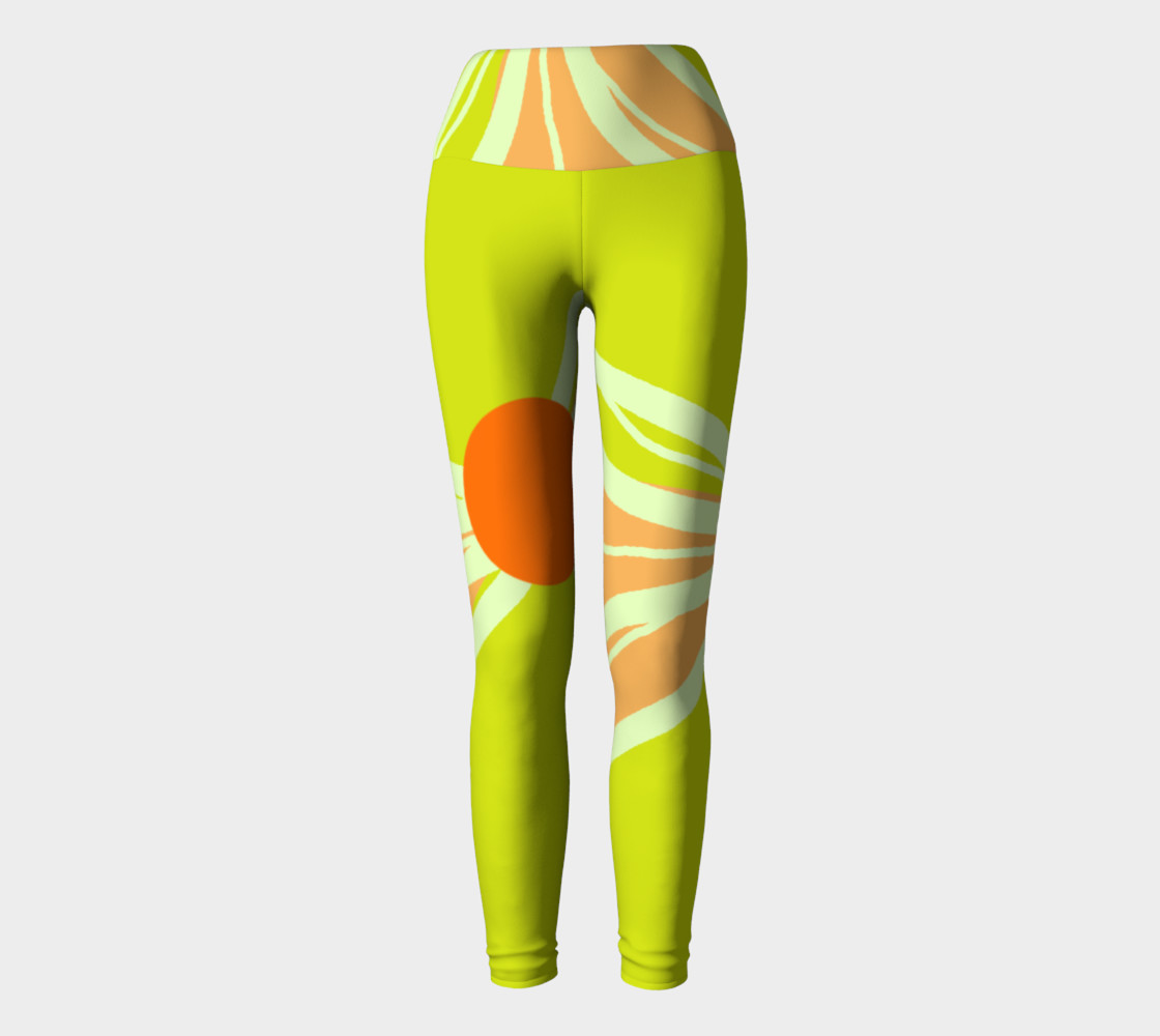 Abstract Yoga Leggings Lime Green and Peach preview #2