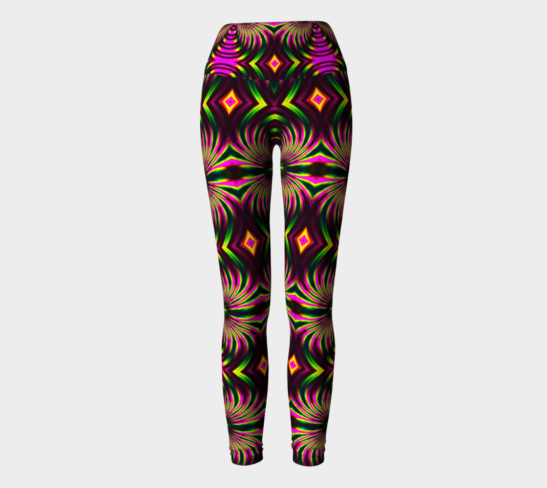 Psychedelic Flamingo Yoga Leggings thumbnail #3