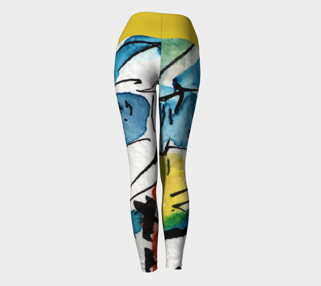 Abstract Art Modern Yoga Leggings with Yellow Band preview #4