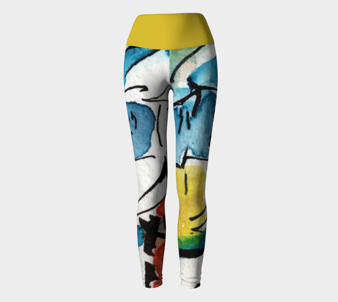 Abstract Art Modern Yoga Leggings with Yellow Band preview #2