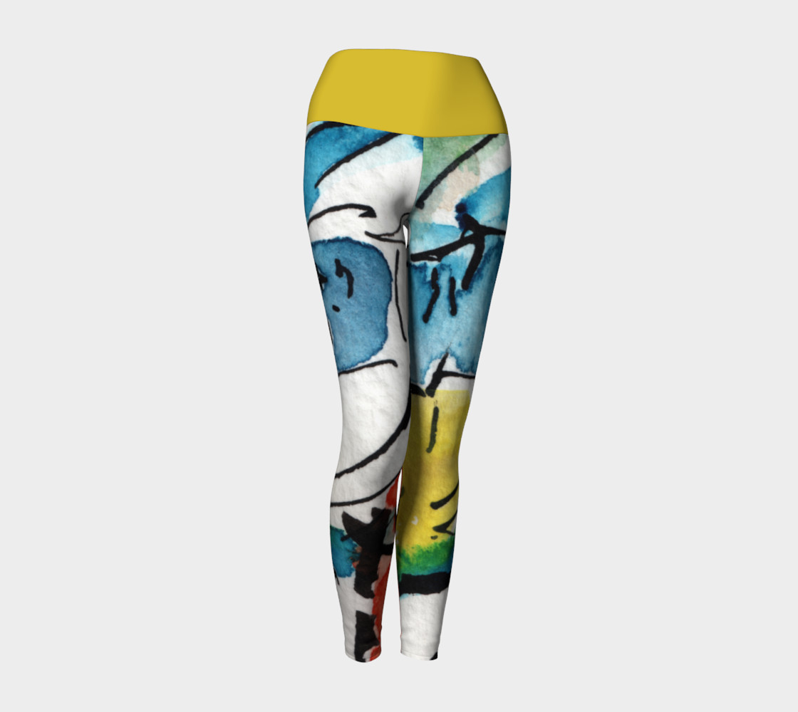 Abstract Art Modern Yoga Leggings with Yellow Band preview #1