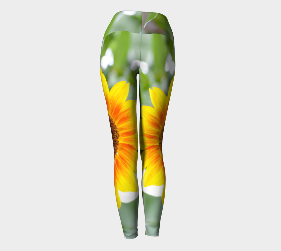 Summertime Sunflower Yoga Leggings preview #4