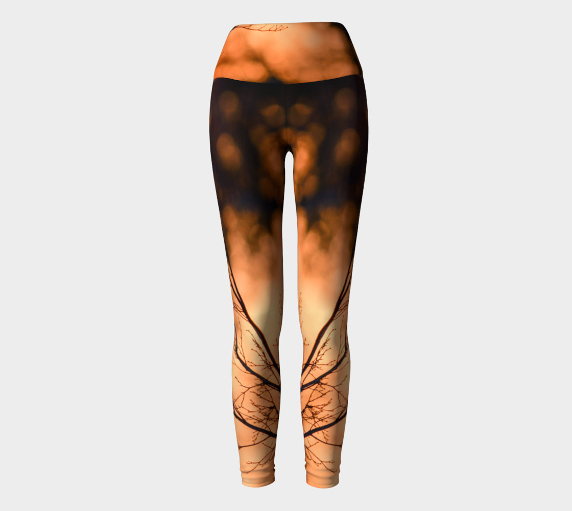 Aperçu de Winter Trees in Sunrise Yoga Leggings #2