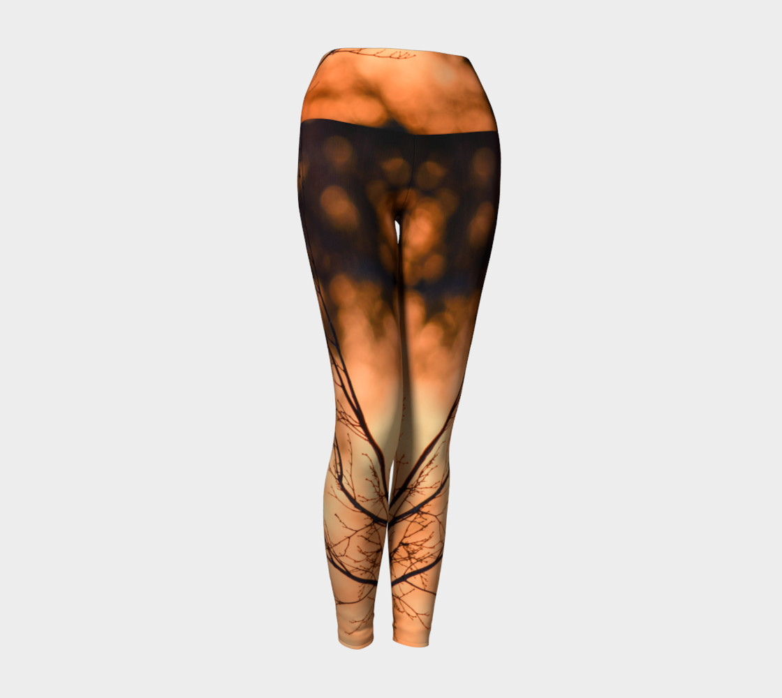 Aperçu de Winter Trees in Sunrise Yoga Leggings #1